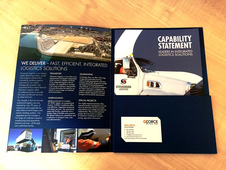 Full colour presentation folder with spine and glued pocket - Gloss Spot - G Force Printing Perth