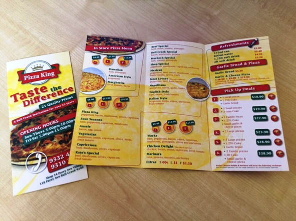Take Away Pizza Menus by G Force Printing