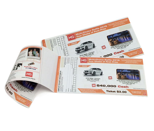 Custom Printed Raffle Tickets for MS Lottery - G Force Printing Perth