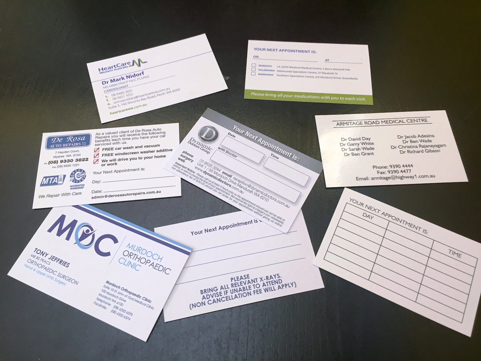 Printed Appointment Cards by G Force Printing Perth