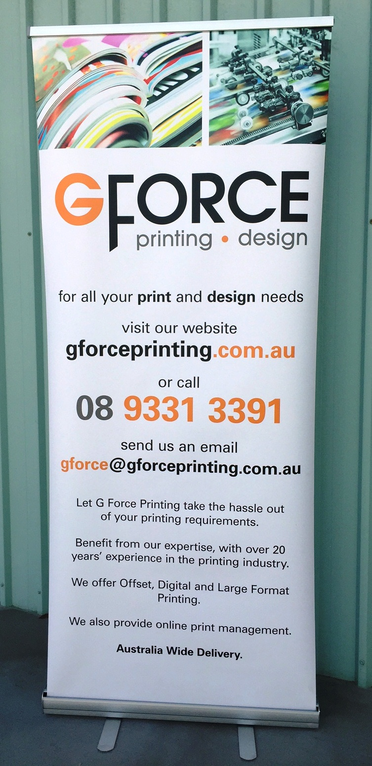 Custom Printed Pull Up Banner – G Force Printing Perth