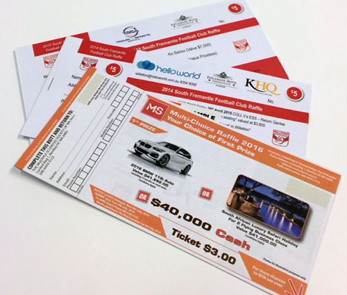 Raffle Ticket Printing - MS Lottery - G Force Printing Perth